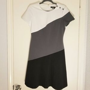 White, grey and black A-line dress!